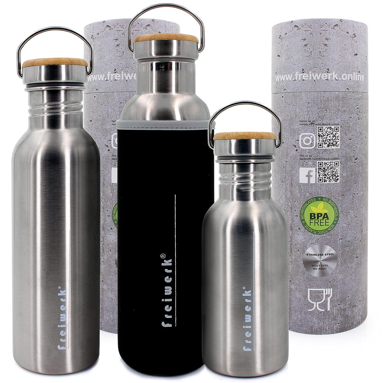 freiwerk® Acero inoxidable Outdoor Botella bambú Tapa Recubrimiento de neopreno 500 ml Einwandig