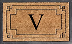 "A1 HOME COLLECTIONS A1HOME200128-V A1HC-Designer Hand-Crafted Rubber & Coir Frame Molded Double Door Mat, Perfect and More Functional Size 24""X36"" Monogrammed, V"
