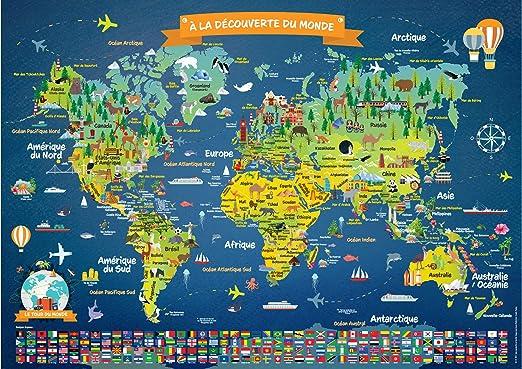 Póster Mapa del mundo laminado para niños | en francés | gran ...