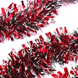 iPEGTOP 3Pcs x 6.6ft Christmas Tinsel Garland, Classic Thick Shiny Sparkly Christmas Tree Ornaments Party Ceiling Hanging Decorations, 4 inch Wide Ink White filaments - Red