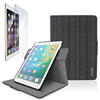 rooCASE Orb Folio 360 Rotating Case Cover with Tempered Glass Protector for iPad Air 2, Support Sleep/Wake Feature, Canvas Black