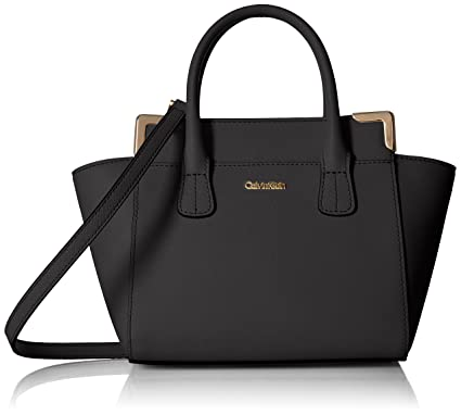 4f3688829c0b Calvin Klein Mini Saffiano Leather Crossbody, Black/Gold: Handbags ...