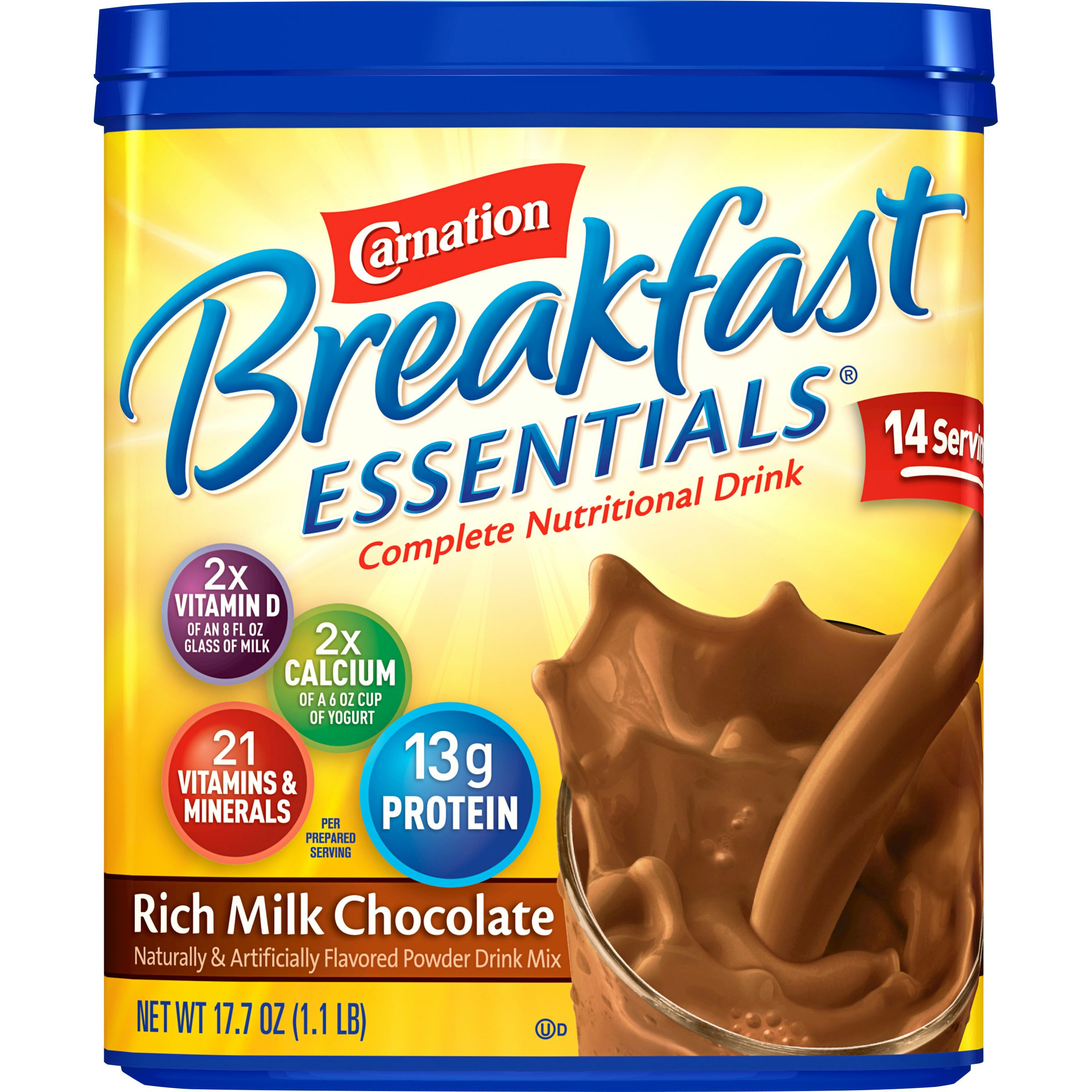 Carnation Breakfast Essentials Chocolate Powder, 17.7 Ounce Canister by Carnation Breakfast Essentials