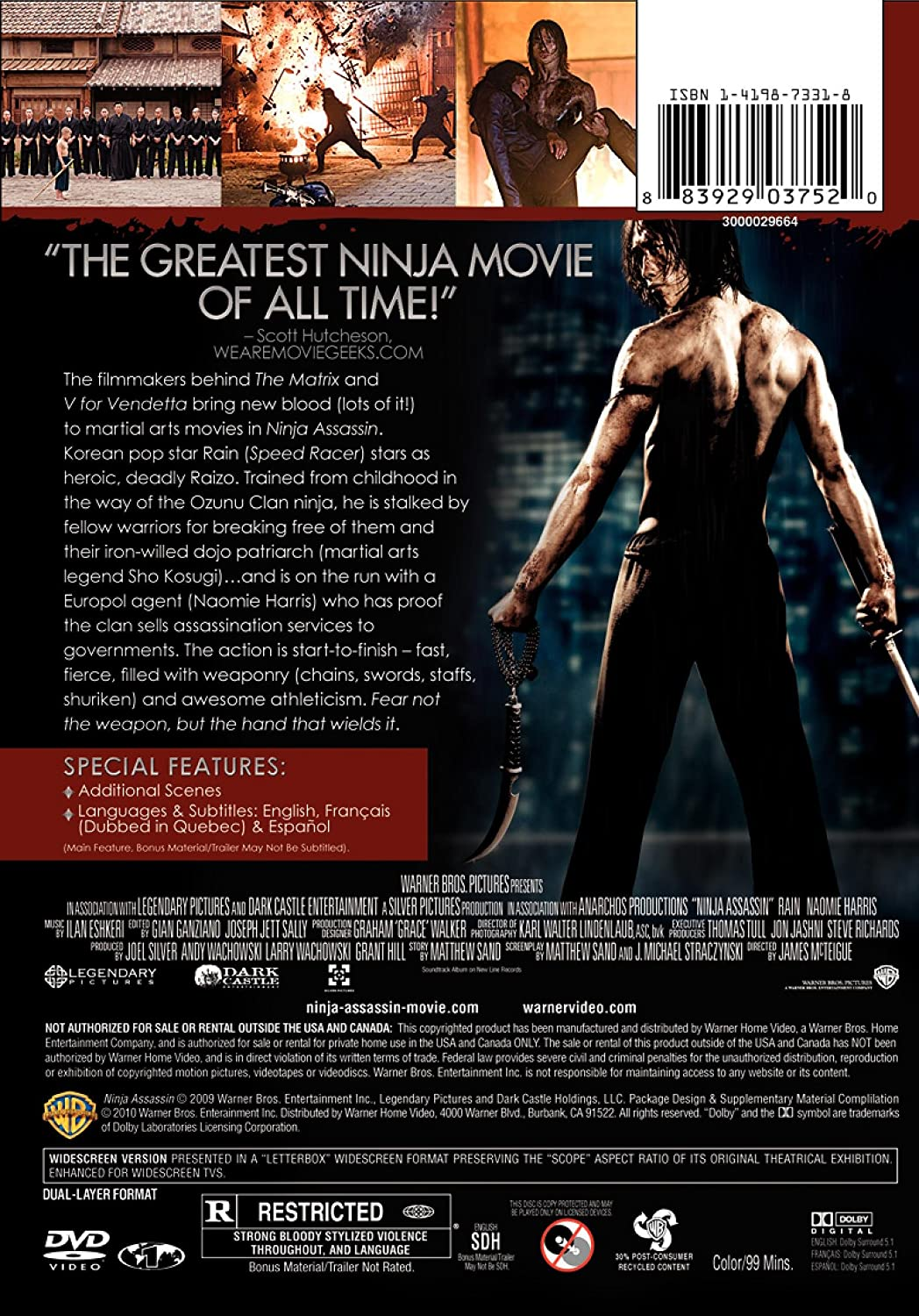 Ninja Assassin [Reino Unido] [DVD]: Amazon.es: Cine y Series TV