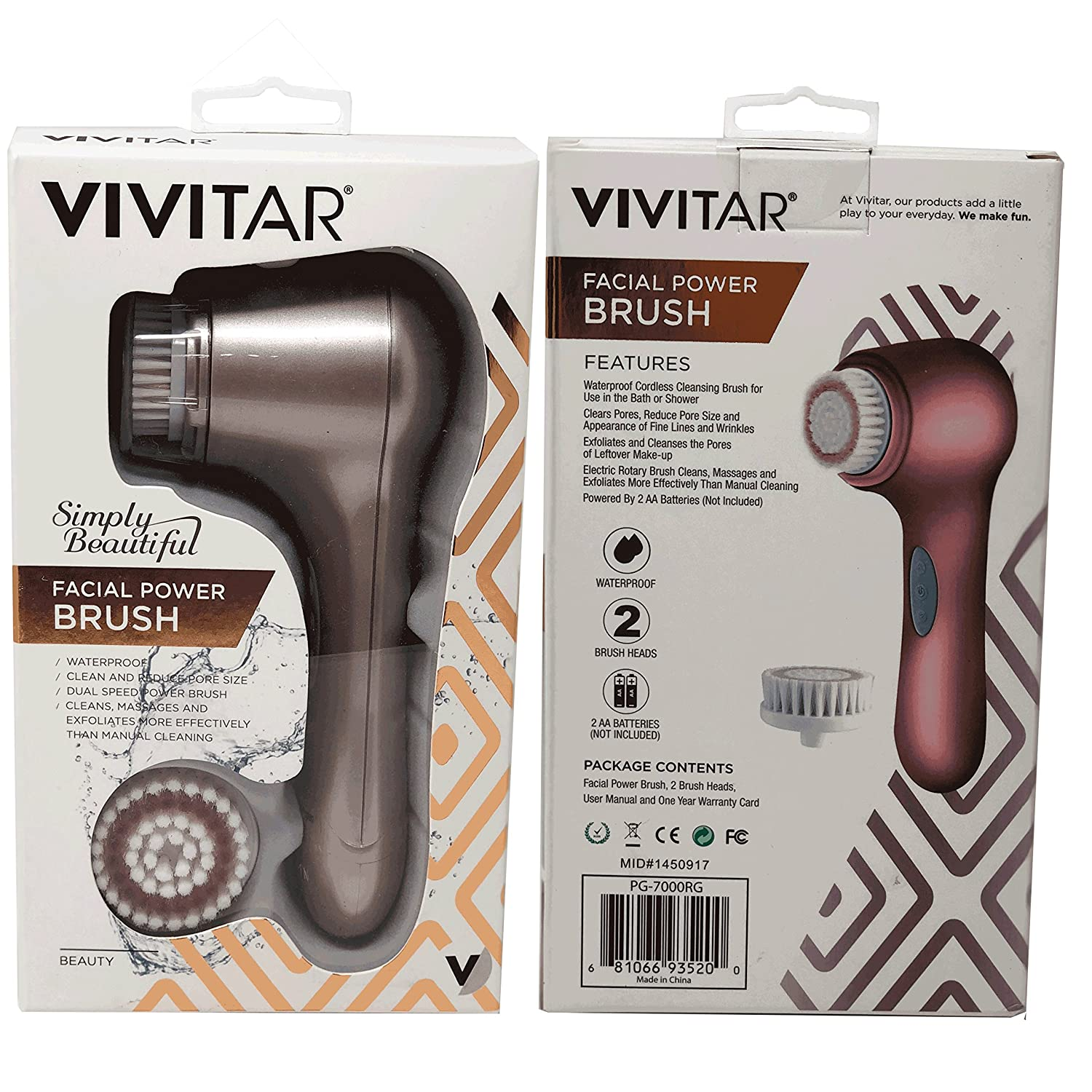 373f39dc453eec Amazon.com: Vivitar Exfoliating Cleansing Brush: Power Facial Brush for Men  & Women| Waterproof Electric Face Brush + 2 Brush Heads| Minimize Pores, ...