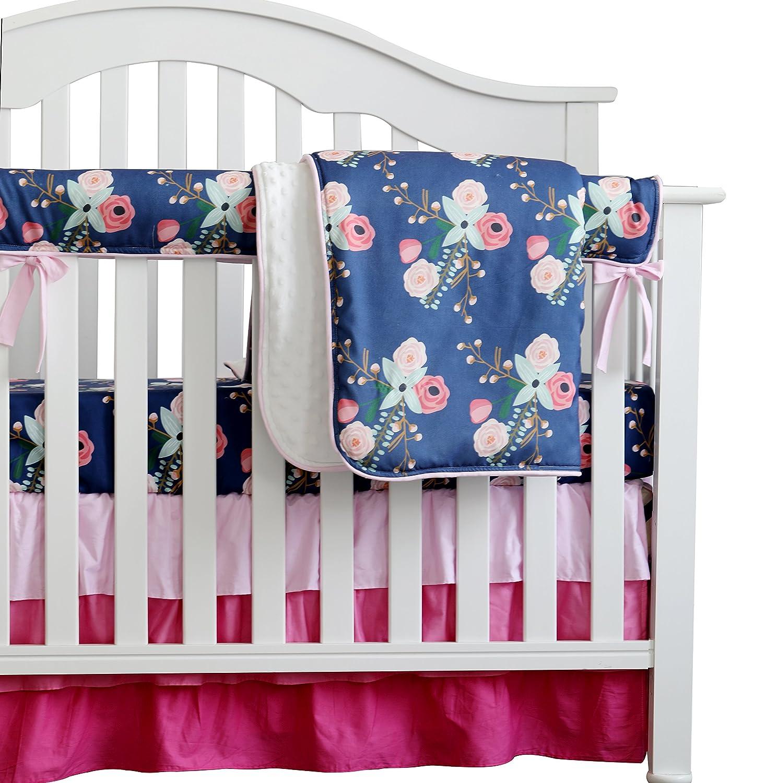 sahaler Boho Chic Coral Floral Ruffle Baby Minky毛布水カラー、ピーチフローラルNursery CribスカートセットベビーガールズCrib Bedding  ネイビーブルー B07C96JVS1