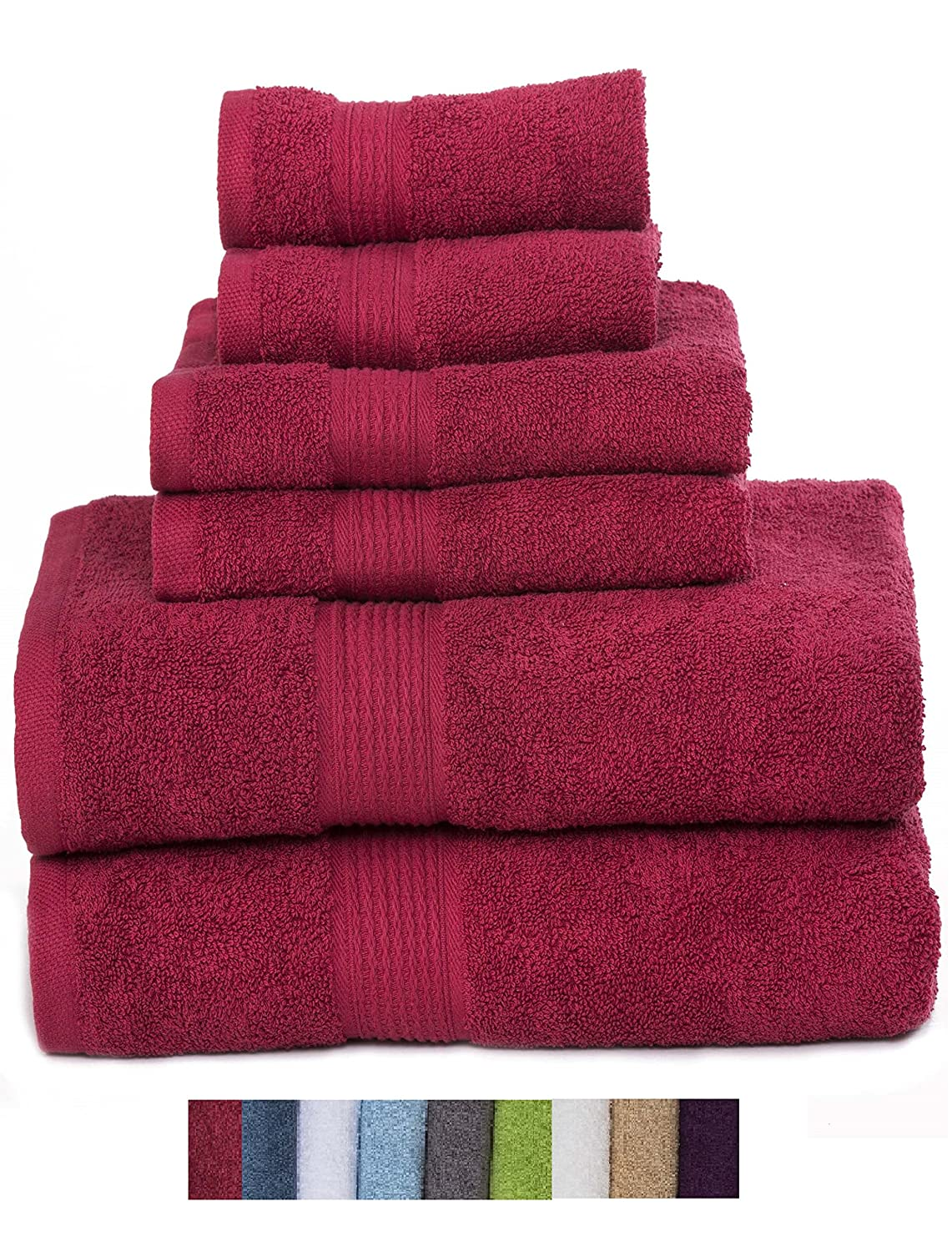 Hydro Basics Fade-Resistant 6-Piece Cotton Towel Set, 100% Cotton terry bathroom set, Soft, Absorbent, Machine Washable, Quick Dry (white) Casa Lino