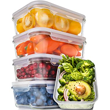 [5-Pack,30oz] Glass Meal Prep Containers - Food Prep Containers with Lids Meal Prep - Food Storage Containers Airtight - Lunch Containers Portion Control Containers - BPA Free Container