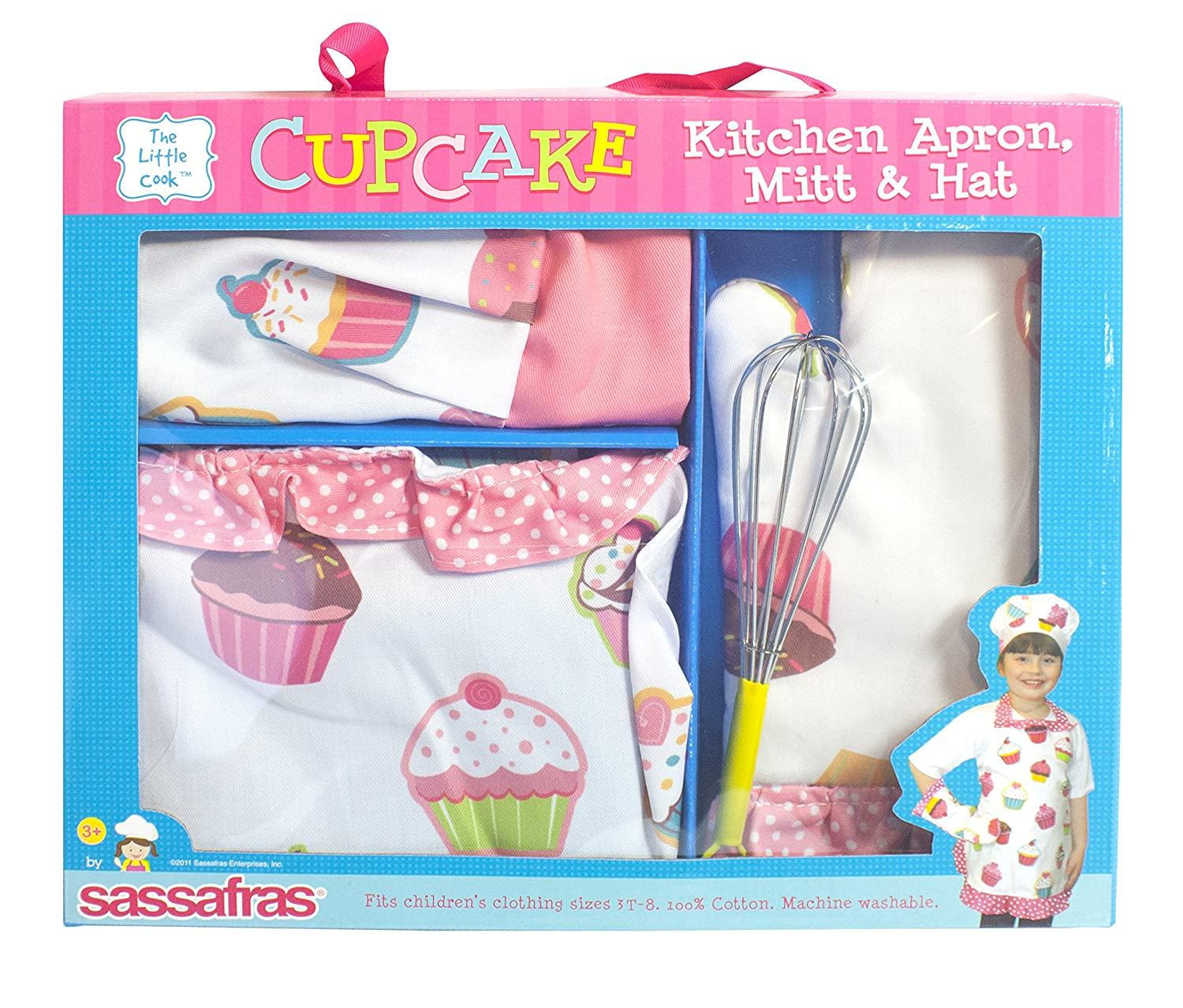 "Sassafras ""The Little Cook"" Ruffled Cupcake Apron Set with BONUS Whisk - Our Children"