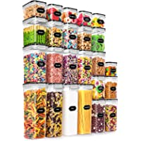 24 Pack Airtight Food Storage Containers - Wildone BPA Free Plastic Dry Food Canisters with Durable Lids for Kitchen…