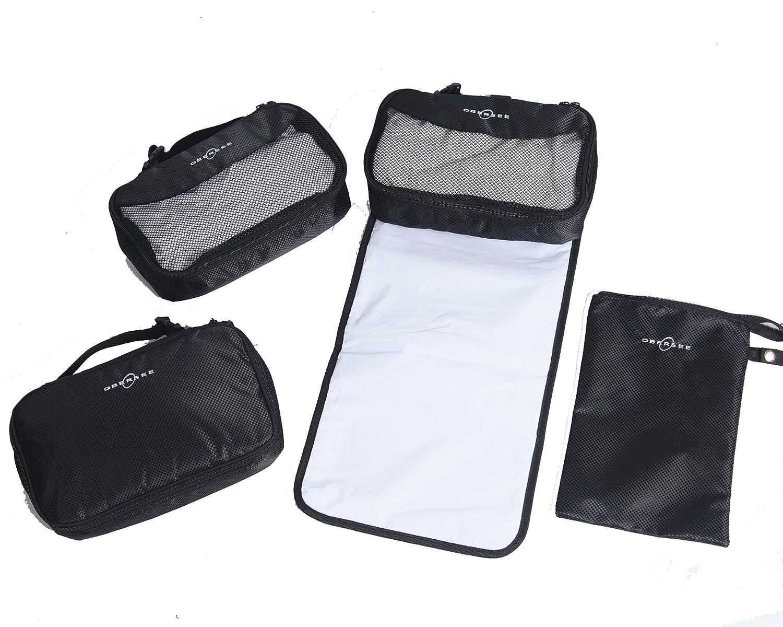 Obersee Diaper Bag Conversion Kit-4 pc Set Cooler, Wet Bag, Clothing Cube, Changing Station, Black O3 Obersee O3Q4SET001