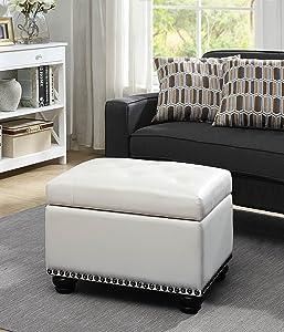Convenience Concepts 163010W Designs4Comfort 5th Avenue Storage Ottoman, Ivory