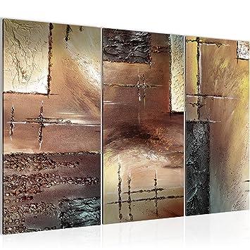Bilder Abstrakt Wandbild 120 x 80 cm Vlies - Leinwand Bild XXL Format  Wandbilder Wohnzimmer Wohnung Deko Kunstdrucke Braun 3 Teilig - MADE IN  GERMANY ...