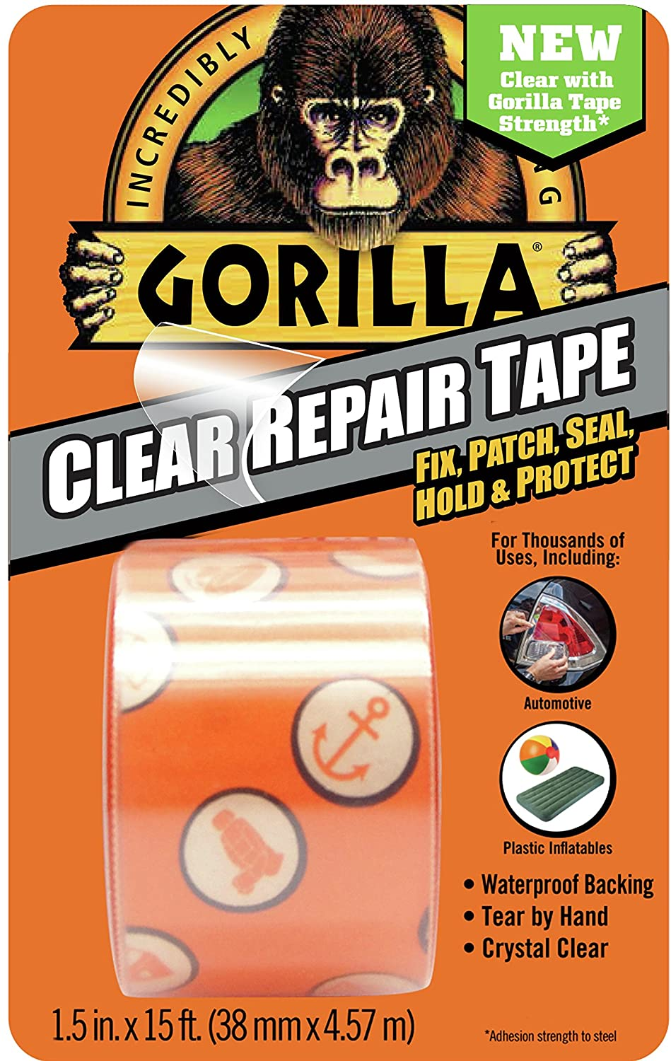 """Pack of 1 Clear Gorilla 6015002 Crystal Duct Tape 1.5/"""" x 5 yd"""