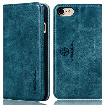iphone8 ケース 手帳型 本革 VISOUL アイフォン7ケース 本革 iphone7ケース 手帳 ガラス
