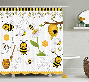 Ambesonne Collage Decor Shower Curtain, Flying Bees Daisy Honey Chamomile Flowers Pollen Spring Themed Animal Print, Fabric Bathroom Decor Set with Hooks, 70 Inches, Yellow White Black