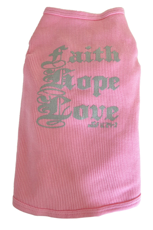 Ruff Ruff & Meow Dog Tank Top, Faith Hope Love, rosa, Grande