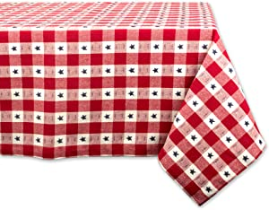 """DII Square Cotton Tablecloth for Independence Day, July 4th Party, Summer BBQ and Outdoor Picnics - 52x52"""", Red White and Blue Star Check"""