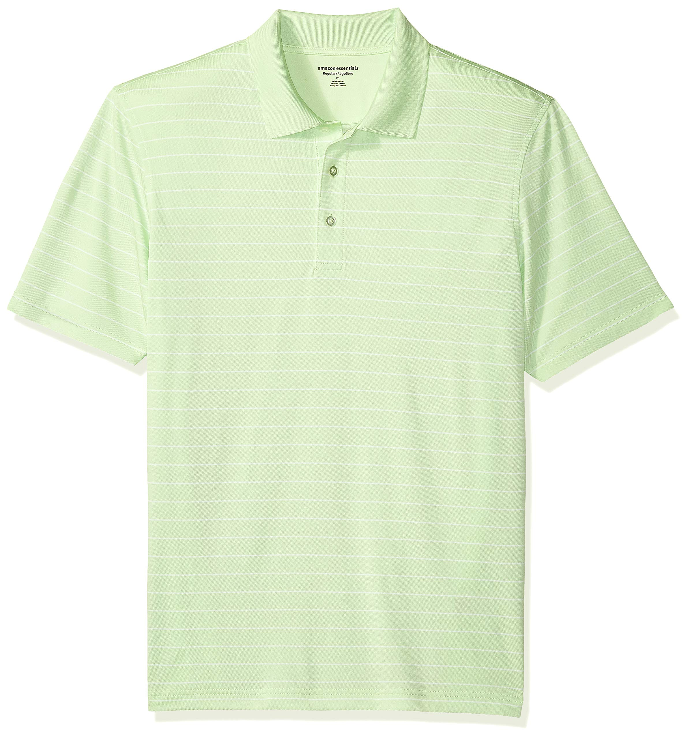 Amazon Essentials Men's Regular-Fit Quick-Dry Golf Polo Shirt, Lime Green Stripe, X-Small