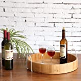 MyGift Modern Bamboo 18-Inch Round Serving Tray with White Metal Handles