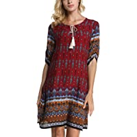 ARANEE Women's Bohemian Vintage Printed Loose Casual Boho Tunic Dress