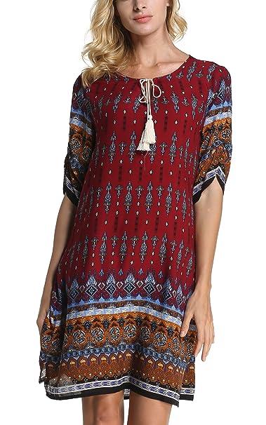 ARANEE Women s Bohemian Vintage Printed Loose Casual Boho Tunic Dress (S d1e4ac490c3d