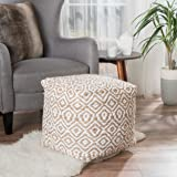 Peterson Ivory Fabric Pouf