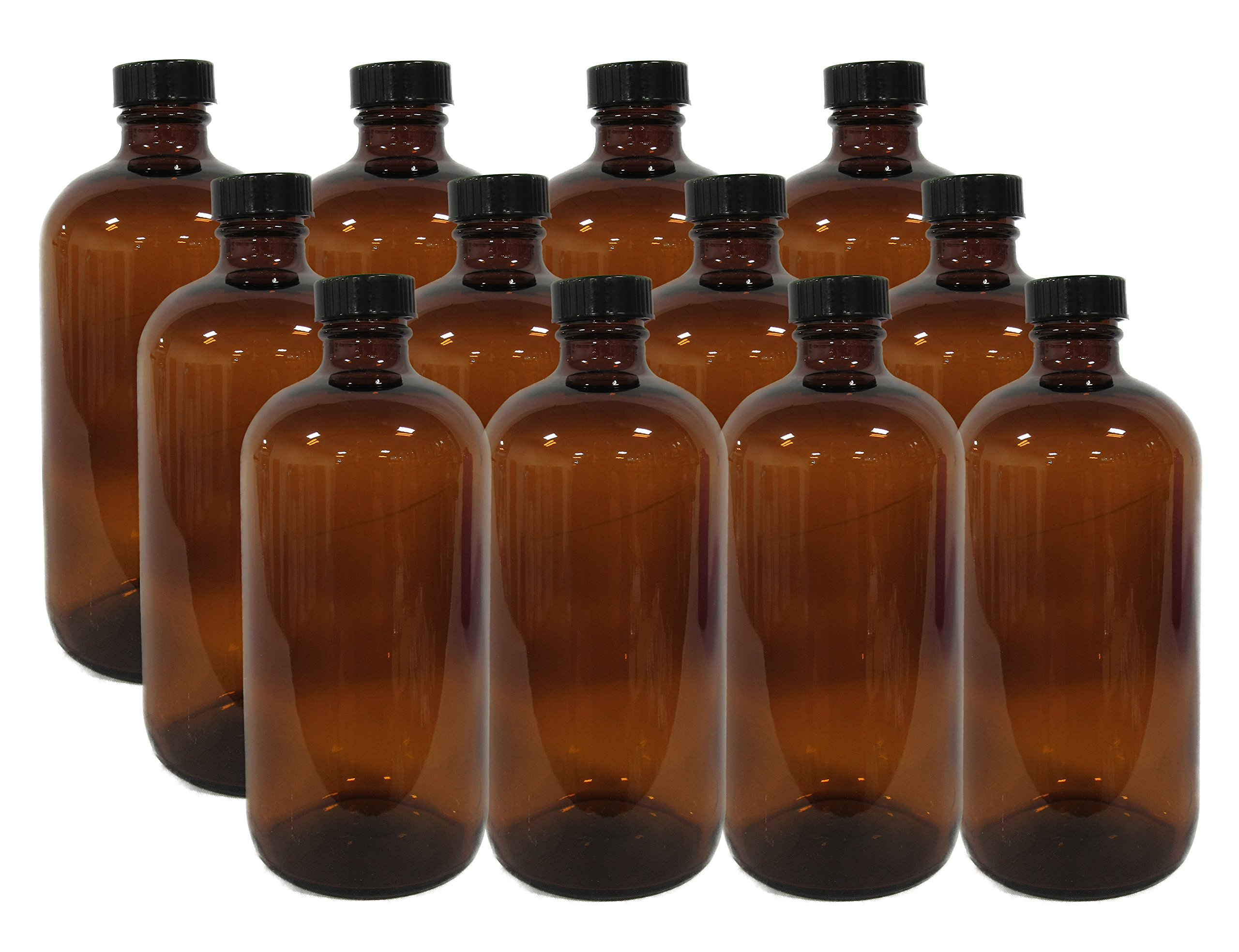 12 Pack 16 Ounce Boston Round Glass Bottles with cap (Amber) by MagJo Naturals