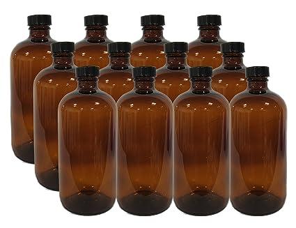 Amazon.com: Paquete de 12 botellas de vidrio redondas Boston ...