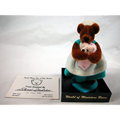 """World of Miniature Bears 3.5"""" Plush Bear Nurse with Baby #769 Collectible Miniature Bear Made by Hand: Toys & Games"""