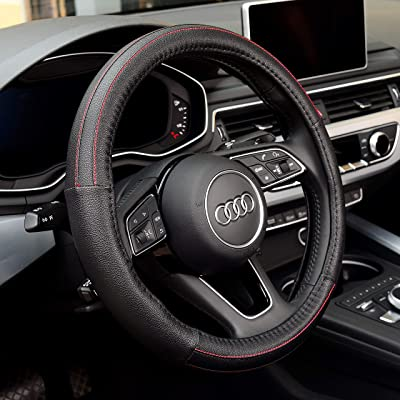 Labbyway Steering Wheel Cover Microfiber Leather Auto Universal 15 Inch, Breathable, Anti-Slip,Warm in Winter and Cool in Summer,Black: Automotive