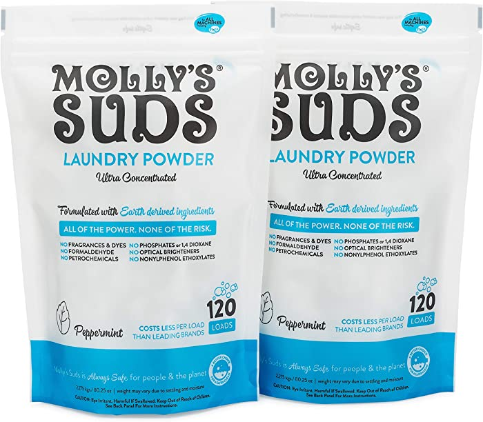 Molly's Suds Original Laundry Detergent Powder, Bundle of 2, 240 Loads Total, Natural Laundry Soap for Sensitive Skin