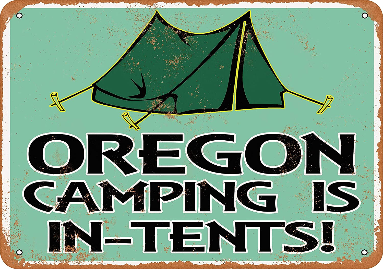 Amazon com: Wall-Color 9 x 12 Metal Sign - Oregon Camping is