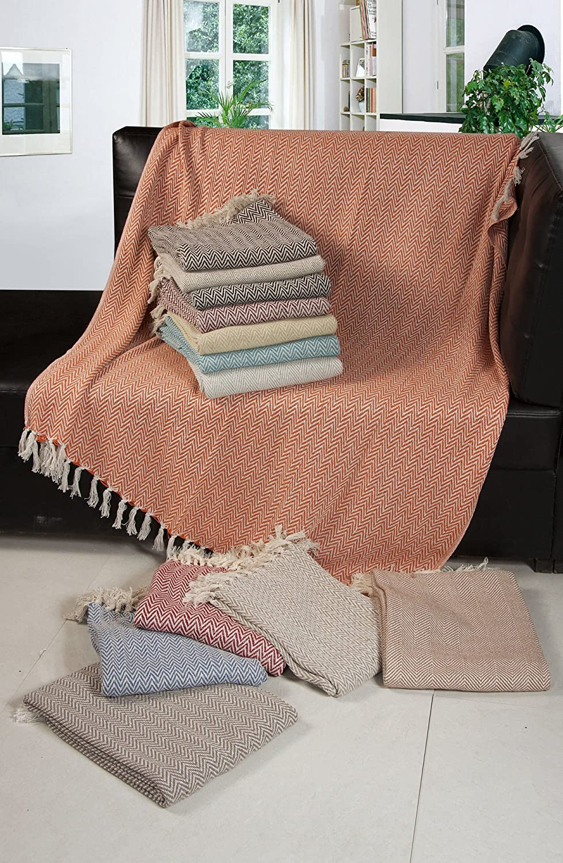 EHC – Tejida a Mano Reversible Individual Manta para sofá sillón, 125 x 150 cm, Color Beige