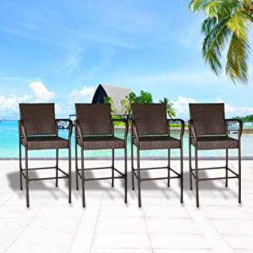 Cloud Mountain Set Of 4 Outdoor Wicker Rattan Bar Stool Outdoor Patio  Furniture Bar Stool Chairs