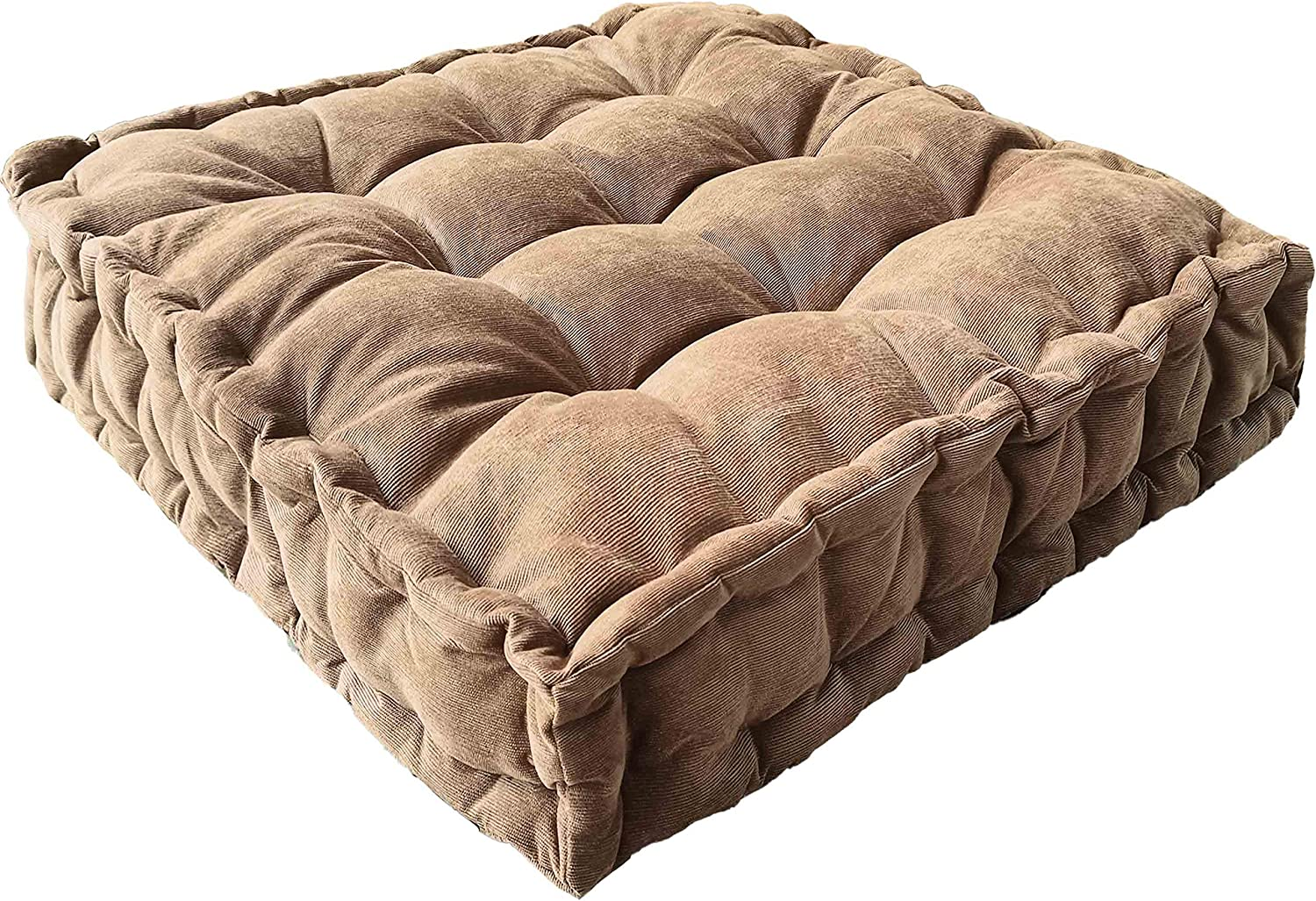 Floor Pillow,Square Meditation Cushion Floor Seating for Adults,Oversized Tufted seat Cushion Reading Nook for Kids, Yoga Meditation Pillow for Sitting on Floor,25x25 Inch (Bronze)