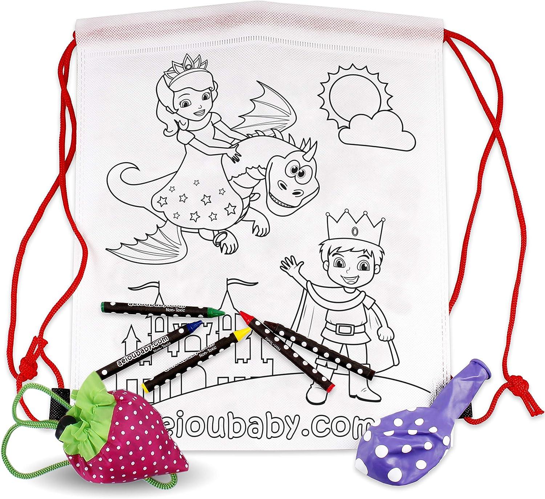 25 Mochilas para Colorear + 1 Bolsa Reutilizable | 25 Bolsas Individuales con 5 Ceras de Colores y Globo | Regalo niños Fiestas y cumpleaños