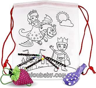 25 Rugzakken om in te kleuren + 1 Herbruikbare draagtas   25 individuele zakjes met 5 wax kleurpotloden en een ballon   Cadeau kinderen voor feestjes en verjaardagen