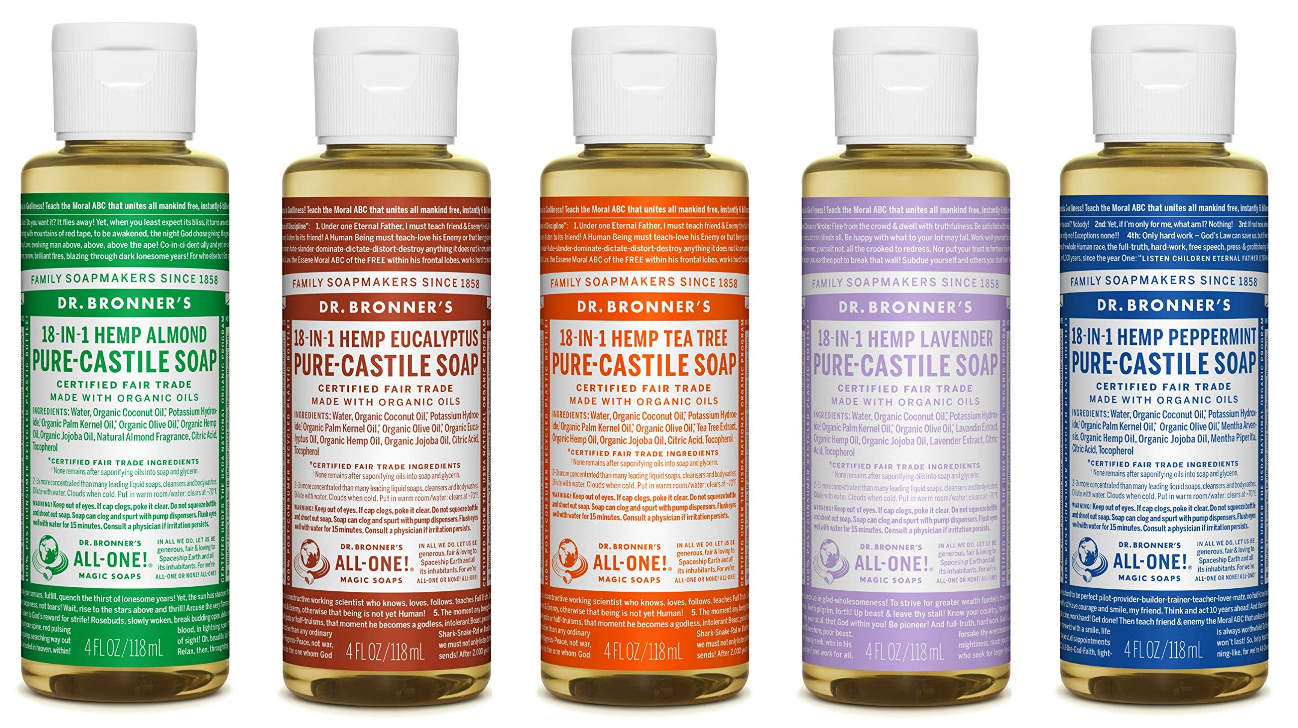 Dr. Bronner's 4 Ounce Sampler- 5 Piece Gift Set. 5, 4 Ounce Castile Liquid Soaps in Almond, Eucalyptus, Tea Tree, Lavender, and Peppermint by Dr. Bronner's