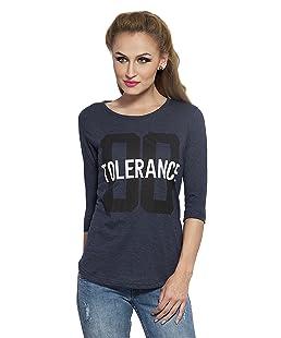 Alan Jones Women's Printed Grey Cotton T-Shirt (WM-TOLRNCE-XL_X-Large_navy Melange)