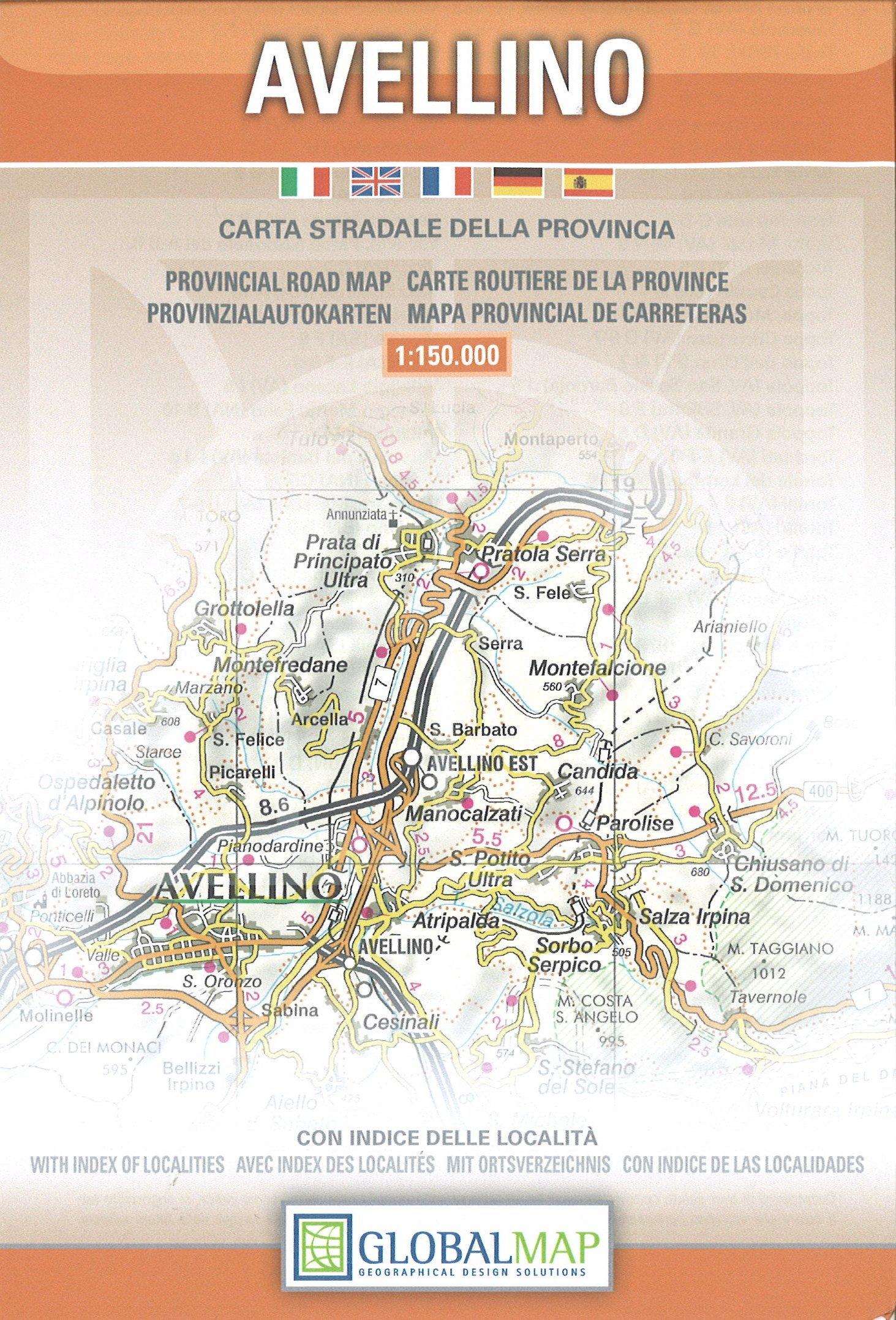 Provincial Map Of Italy.Avellino Campania Italy Provincial Road Map English Spanish