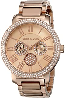 Vince Camuto Womens VC/5000RGRG Swarovski Crystal Accented Rose Gold-Tone Multi-Function