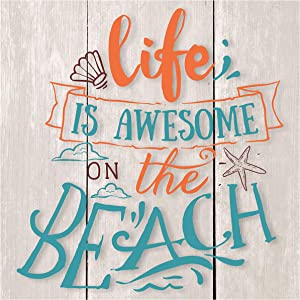 MRC Wood Products Life is Awesome On The Beach Rustic Wall Sign 12x12