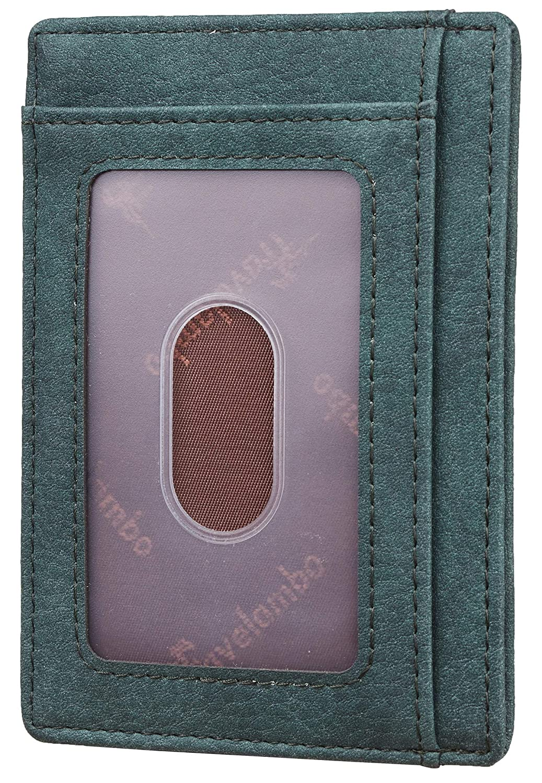 Travelambo Front Pocket Minimalist Leather Slim Wallet RFID Blocking Medium Size
