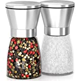 MEGA SALE! TOP QUALITY, EASY TO USE SALT AND PEPPER MILLS! Large Capacity, Stainless Steel Top, Thick Glass Body And adjustable Ceramic Rotor - Premium Pepper Grinder Set Of 2.!