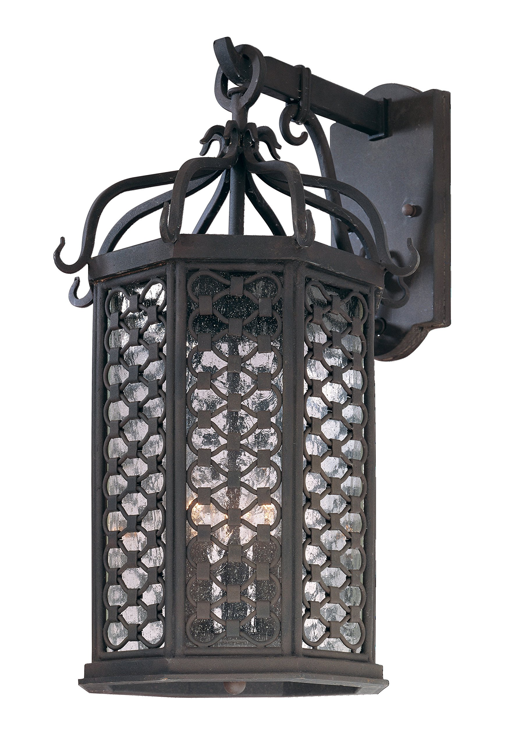 Troy Lighting Los Olivos 20.5''H 3-Light Outdoor Wall Lantern - Old Iron Finish with Clear Seeded Glass by Troy