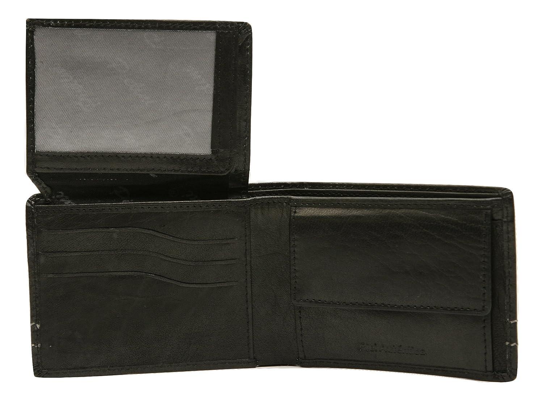 Pielini -Cartera de caballero en piel de vacuno mod 3705, con multiples departamentos y monedero, negro: Amazon.es: Zapatos y complementos