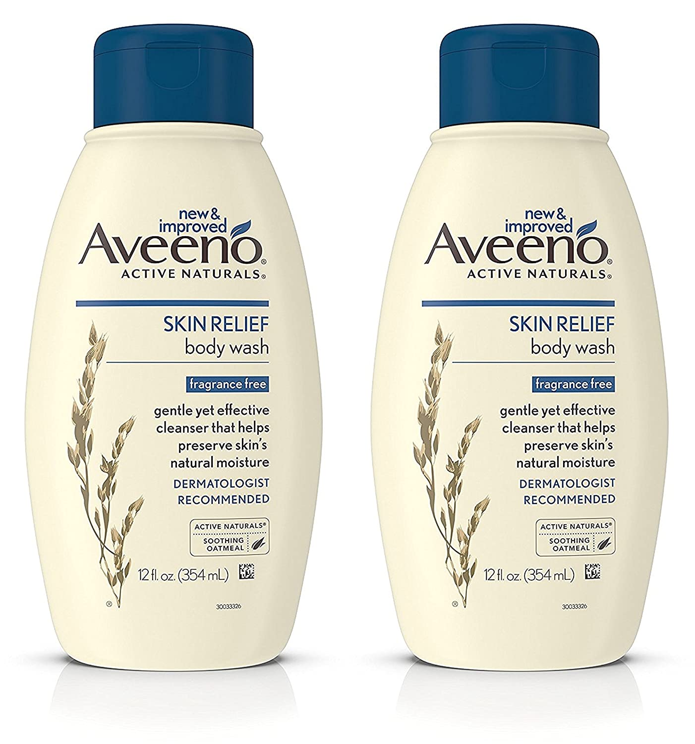 Aveeno Skin Relief Fragrance-Free Body Wash with Oat to Soothe Dry Itchy Skin, Gentle, Soap-Free & Dye-Free for Sensitive Skin, 12 fl. oz (Pack of 2)