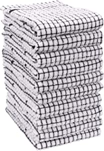 KAF Home Set of 10 Grid Terry Kitchen Towels | 20 x 30 Inches, 100% Cotton, Ultra Absorbent Terry Dish Towels - Black