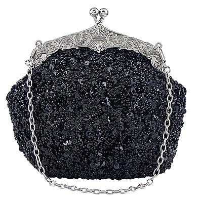 70a741ed7fe Bagood Women's Vintage Evening Bags Clutches Purses Handbag Shoulder Bag  Seed Beaded Sequin Flower for Wedding